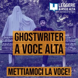 Ghostwriter a voce alta- copertina dell'episodio del podcast. Fantasma con persona seduta su una panchina